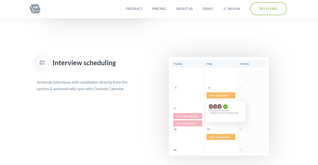 cakeHR interview scheduling software