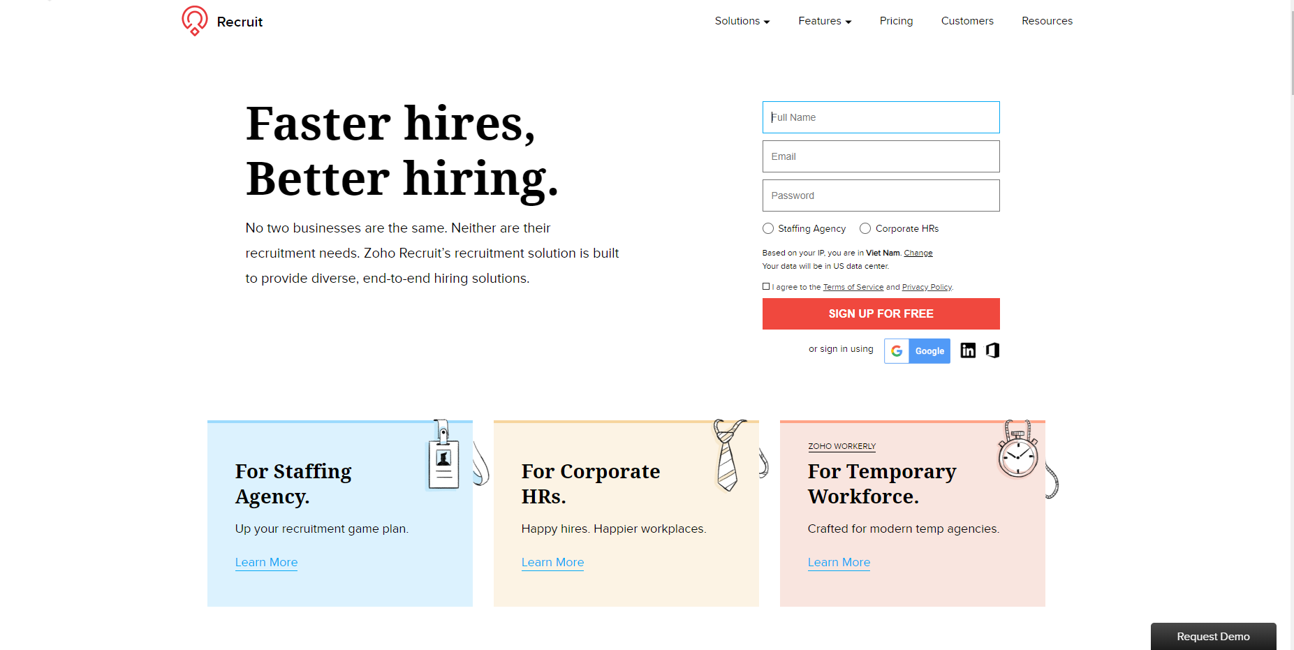 Zoho Recruit interview scheduling software